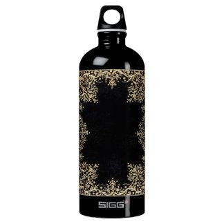 Falln Black And Gold Filigree Water Bottle