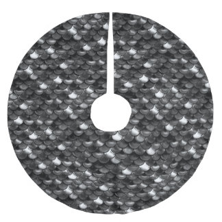Falln Black and White Scales Brushed Polyester Tree Skirt