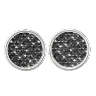 Falln Black and White Scales Cuff Links