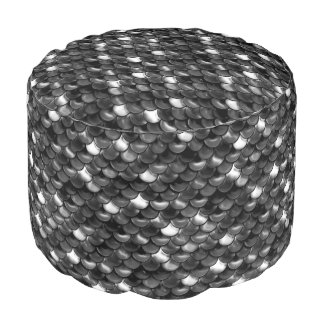 Falln Black and White Scales Pouf