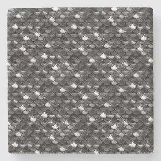 Falln Black and White Scales Stone Coaster
