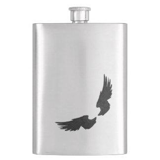 Falln Black Angel Wings Hip Flask