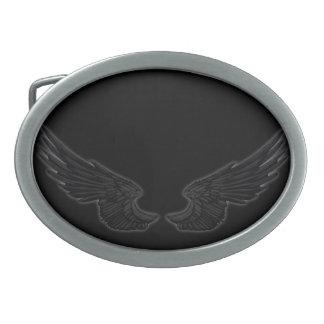 Falln Black Angel Wings Oval Belt Buckle