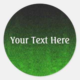 Falln Black & Green Glitter Gradient Round Sticker