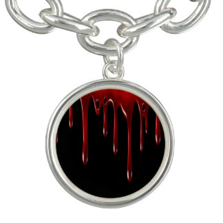 Falln Blood Drips Black Charm Bracelet