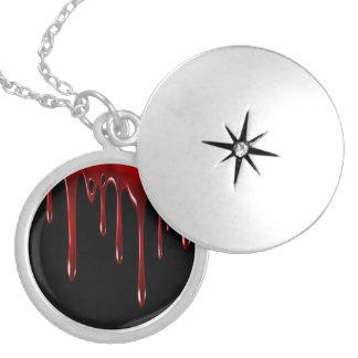 Falln Blood Drips Black Locket Necklace
