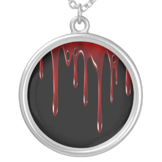 Falln Blood Drips Black Silver Plated Necklace