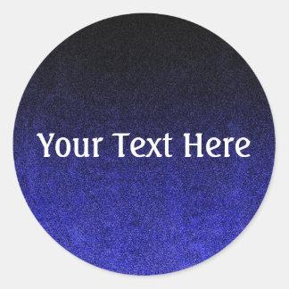 Falln Blue & Black Glitter Gradient Round Sticker