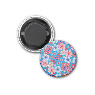 Falln Blue Cascading Floral Chirimen 1 Inch Round Magnet