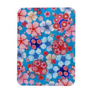 Falln Blue Cascading Floral Chirimen Rectangular Photo Magnet