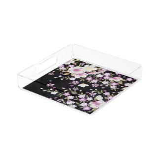Falln Cascading Pink Flowers Acrylic Tray