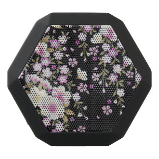 Falln Cascading Pink Flowers Black Bluetooth Speaker
