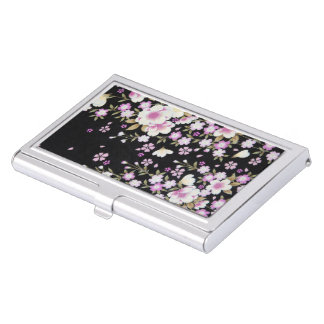 Falln Cascading Pink Flowers Business Card Holder