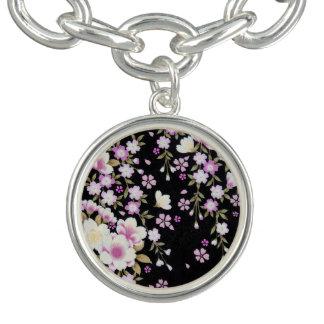 Falln Cascading Pink Flowers Charm Bracelet