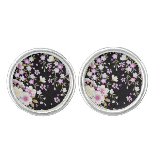 Falln Cascading Pink Flowers Cufflinks