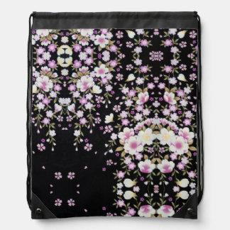 Falln Cascading Pink Flowers Drawstring Bag