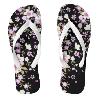 Falln Cascading Pink Flowers Flip Flops