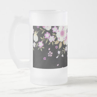 Falln Cascading Pink Flowers Frosted Glass Beer Mug