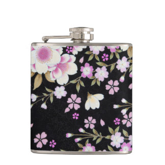 Falln Cascading Pink Flowers Hip Flask