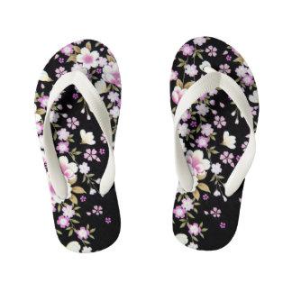 Falln Cascading Pink Flowers Kid's Flip Flops