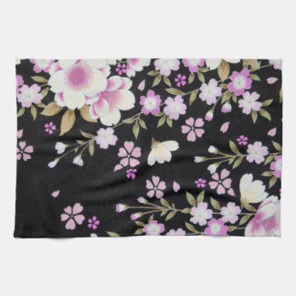 Falln Cascading Pink Flowers Kitchen Towel