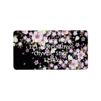 Falln Cascading Pink Flowers Label