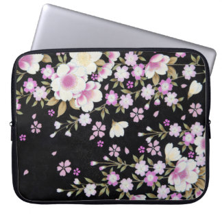 Falln Cascading Pink Flowers Laptop Sleeve