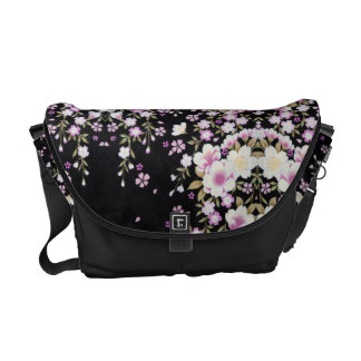 Falln Cascading Pink Flowers Messenger Bag