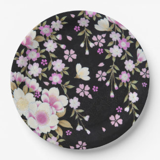 Falln Cascading Pink Flowers Paper Plate