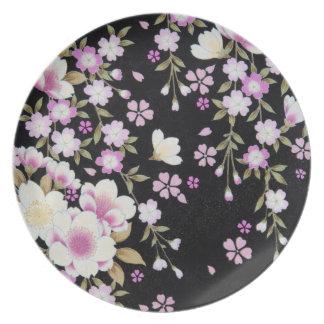 Falln Cascading Pink Flowers Plate