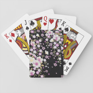 Falln Cascading Pink Flowers Playing Cards