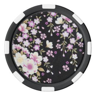 Falln Cascading Pink Flowers Poker Chips