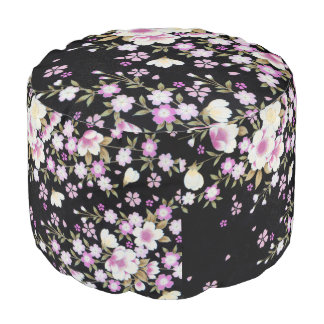 Falln Cascading Pink Flowers Pouf