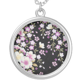 Falln Cascading Pink Flowers Silver Plated Necklace