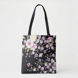 Falln Cascading Pink Flowers Tote Bag