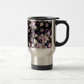 Falln Cascading Pink Flowers Travel Mug
