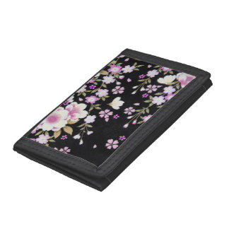 Falln Cascading Pink Flowers Trifold Wallets
