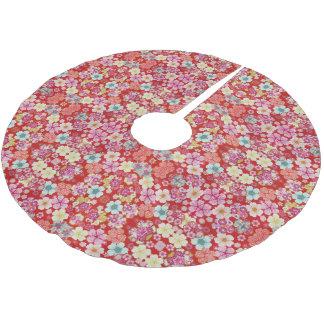 Falln Crimson Floral Chirimen Brushed Polyester Tree Skirt