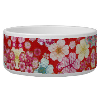 Falln Crimson Floral Chirimen Pet Water Bowl