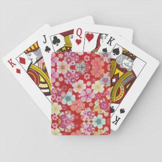Falln Crimson Floral Chirimen Poker Deck