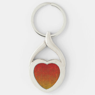 Falln Flame Glitter Gradient Silver-Colored Twisted Heart Keychain