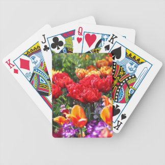 Falln Floral Crimson Waves Bicycle Playing Cards