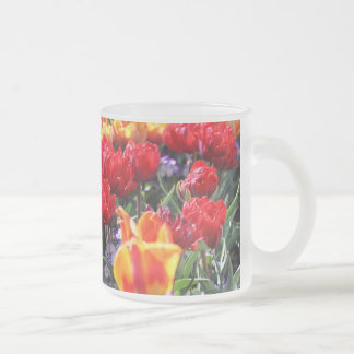 Falln Floral Crimson Waves Frosted Glass Coffee Mug