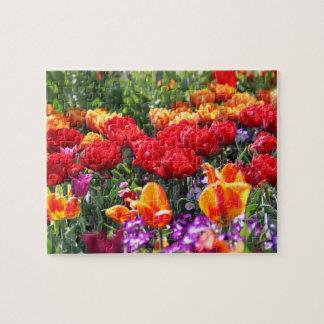 Falln Floral Crimson Waves Jigsaw Puzzle