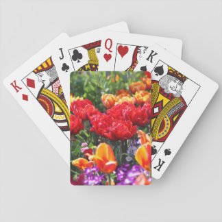 Falln Floral Crimson Waves Playing Cards