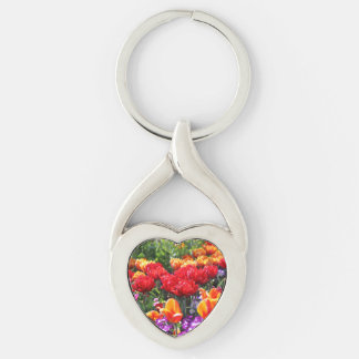 Falln Floral Crimson Waves Silver-Colored Twisted Heart Keychain