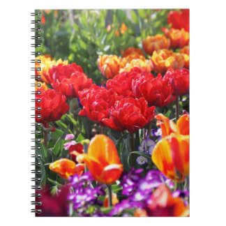 Falln Floral Crimson Waves Spiral Notebook