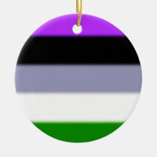 Falln Genderqueer Pride Flag Round Ceramic Ornament