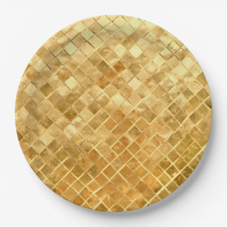 Falln Golden Checkerboard Paper Plate