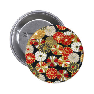 Falln Golden Chrysanthemums 2 Inch Round Button